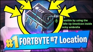 Fortnite FORTBYTE #7 - ACCESSIBLE BY USING THE CUDDLE UP EMOTICON INSIDE A ROCKY UMBRELLA