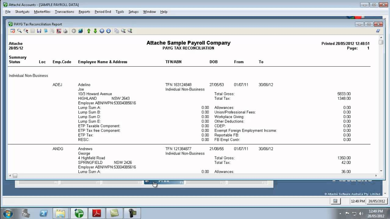 attache payroll how to reconcile payg tax reconciliation report