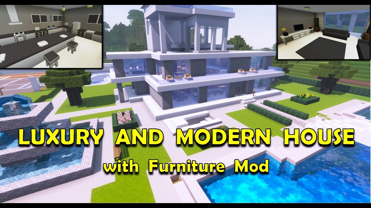 A VERY LUXURIOUS AND MODERN HOUSE IN MINECRAFT (with Furniture Mod)