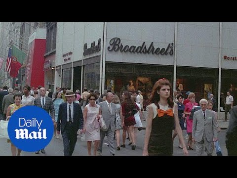 1969 video of pedestrians and traffic on busy Manhattan street - Daily Mail