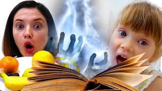Merry Nastya and mom   story for children about magical food