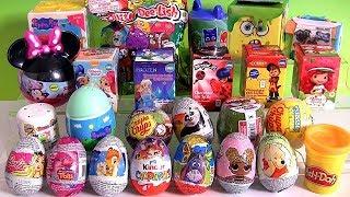 Abrindo muitas surpresas Kinder ovo Chupa Chups Slime Bob Sponja squishy toys