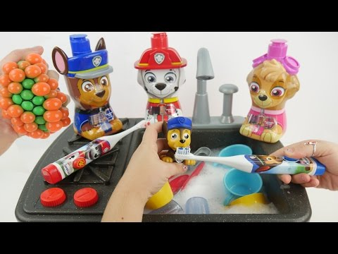 Cooking Paw Patrol and Washing Dishes on Faucet Sink Stove Playset for Kids