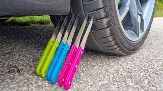Crushing Crunchy & Soft Things by Car! EXPERIMENT CAR vs KNIFE