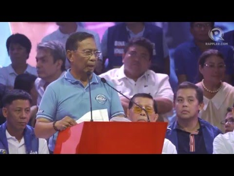 WATCH: Jejomar Binay's full speech at his campaign kick-off in Mandaluyong