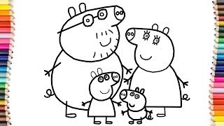 How to Draw Peppa Pig Family Coloring Pages | Kid Drawing Learn Colors for Childrens