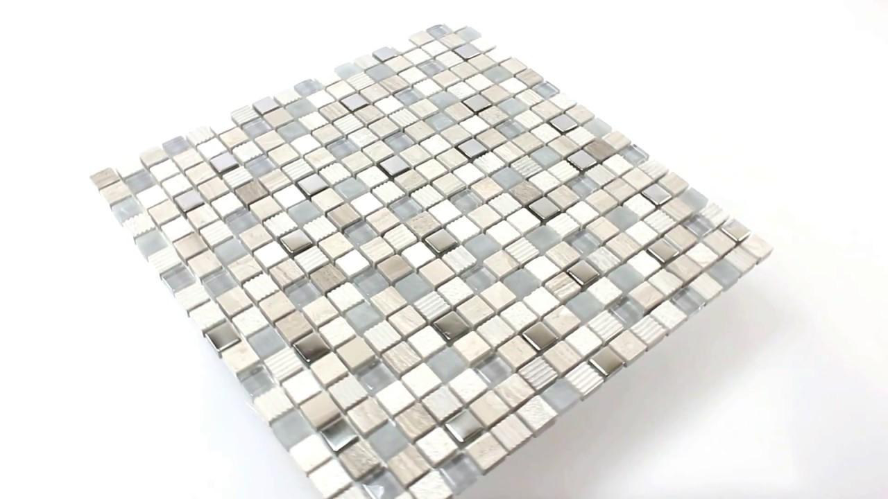 Badezimmer Küchen Wandfliesen Mosaik Venzona Hellgrau Silber - YouTube