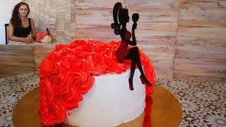 Торт на юбилей женщине ДАМСКИЙ ТОРТ Украшение торта кремом БЫСТРО и ПРОСТО