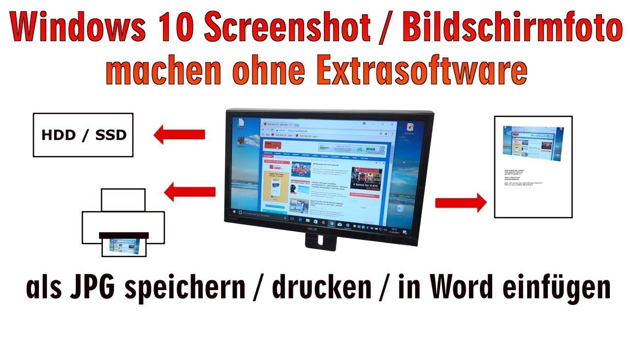Windows 10 Screenshot Bildschirmfoto Machen Ohne Extrasoftware Speichern Drucken In Word Hd