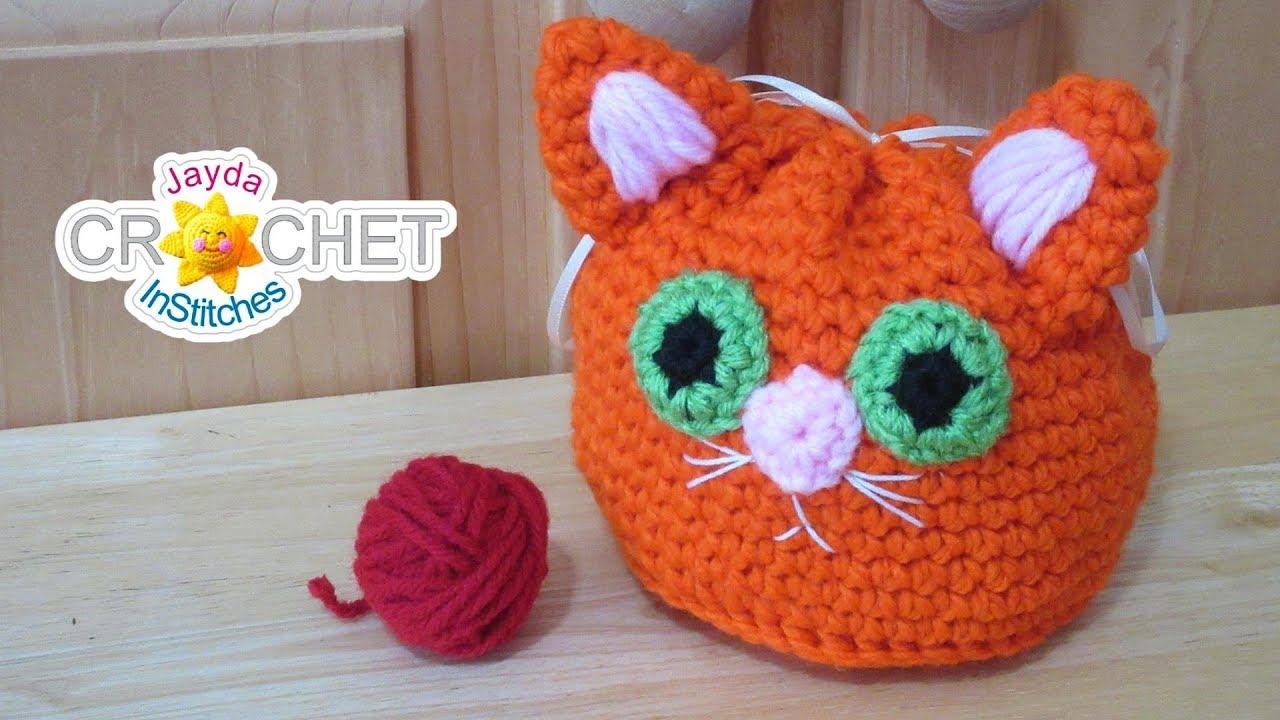 Black /& Orange Crochet Drawstring Pouch