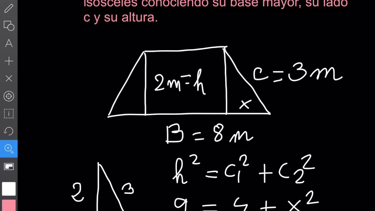 Cálculo De La Base Menor De Un Trapecio Isósceles Conociendo Su Base Mayor Su Lado C Y Su Altura Youtube