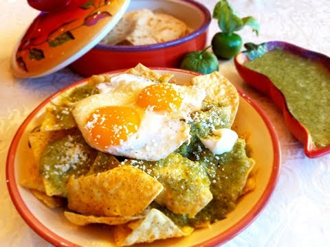💖 Chilaquiles & Salsa Verde Recipe or Green Mexican Salsa ( Hangover Cure ) Tomatillo sauce
