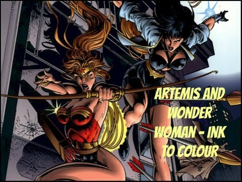 Wonder Woman and Artemis - INK TO COLOUR