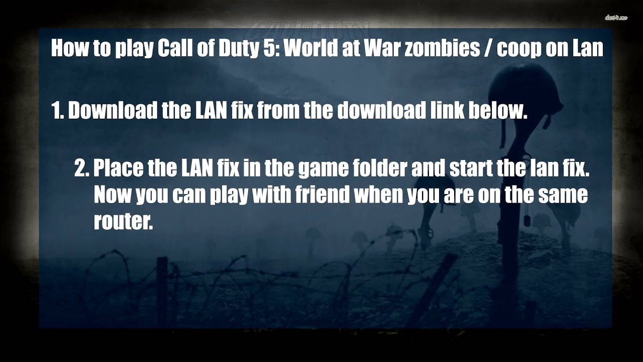 call of duty 5 world at war lan fix