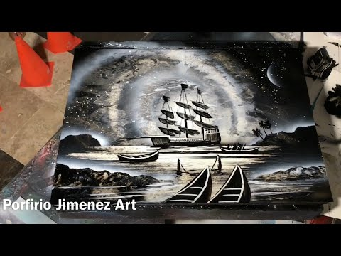Pirate Ship Spray Paint Art Tutorial For Beginner by Porfirio Jimenez