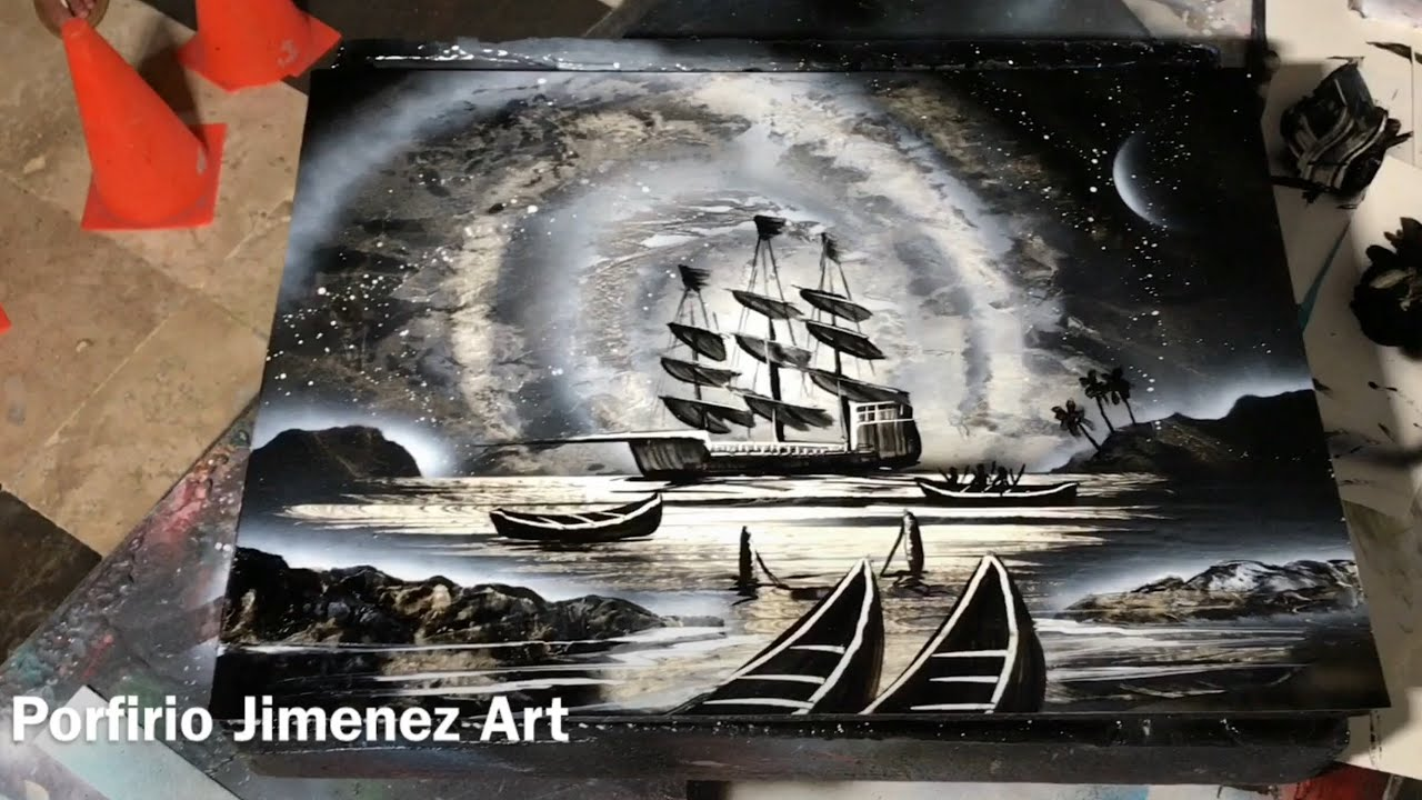 Pirate ship spray paint art tutorial for beginner by for Spray paint art tutorial beginner