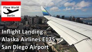 Inflight landing Alaska Airlines Embraer 175 at San Diego Airport