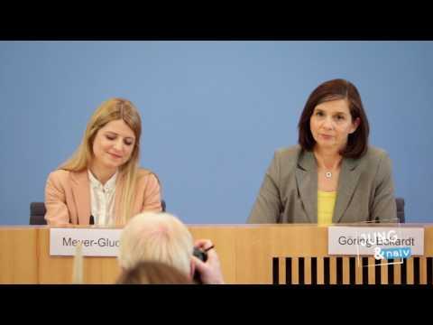 Grüne: Katrin Göring-Eckardt & Barbara Meyer-Gluche nach der Saarlandwahl - BPK vom 27. März 2017