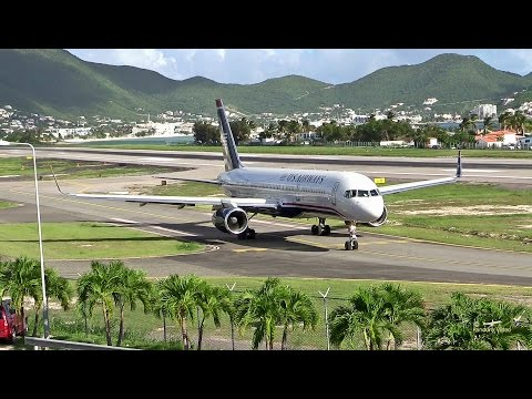 St. Maarten Amazing Plane landing and Takeoff footage at Princess Juliana Airport Boeing 757