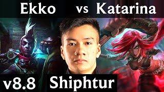 Shiphtur - EKKO vs KATARINA (MID) ~ Legendary, KDA 12/2/5 ~ NA Master ~ Patch 8.8