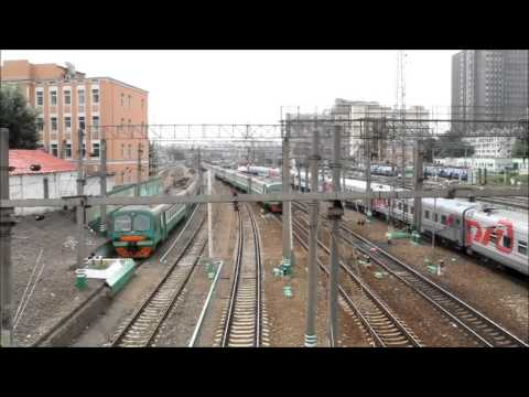 A train traffic beside Kazansky railway station, Moscow, Russia.