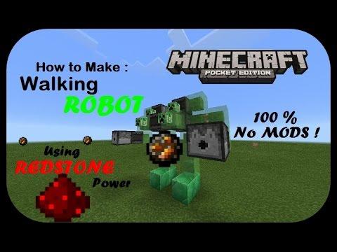 Minecraft PE : How to Make a Walking Robot 100% WORK & No MOD !