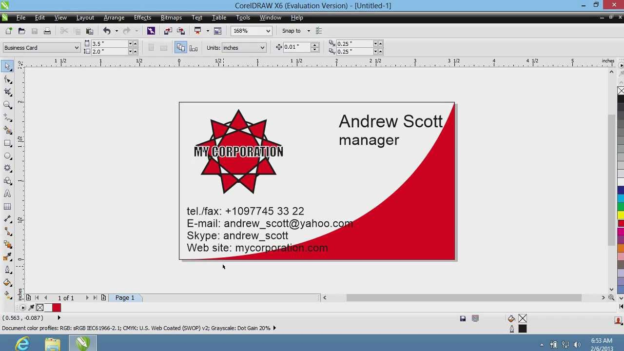 How To Create Business Cards In Coreldraw Youtube