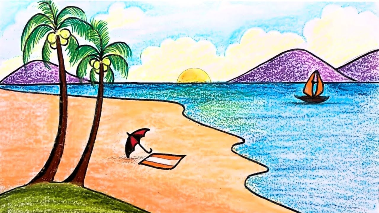 How To Draw A Sea Beach Scenery For Kids Step By Step