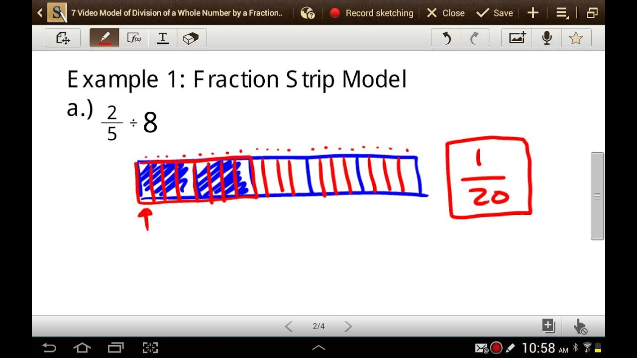 Model of division of a fraction by a whole number youtube model of division of a fraction by a whole number ccuart Choice Image