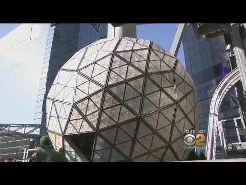 Crystals Installed On Times Square New Year's Eve Ball