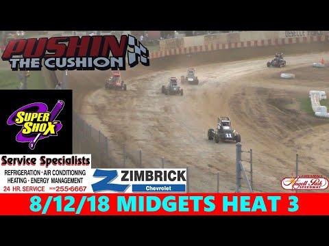 Angell Park Speedway - 8/12/18 - Badger Midgets - Heat 3