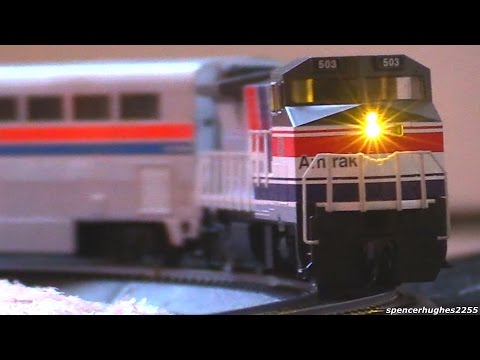 "Model Railway Toy Train Scenery -HO Scale Amtrak 503 ""SOUNDTRAXX"" (Our 2015 Christmas Tree Train)"