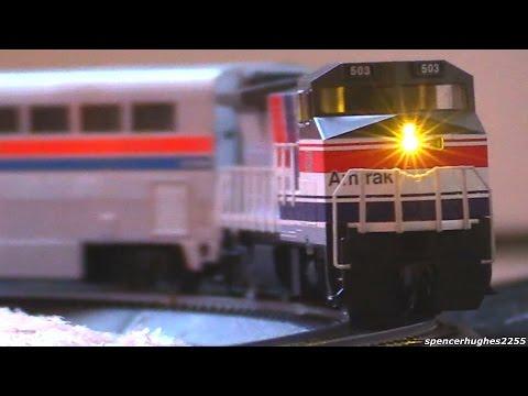 "Model Railway Toy Train Scenery -HO Scale Amtrak 503 ""SOUNDTRAXX"" (Our 2015 Christmas Tree Train)"