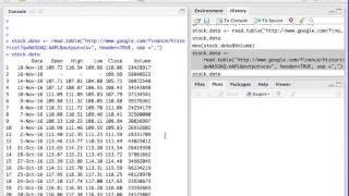 Google API to access 52 week data. R programming basics. High/low/volume.  IIM India, Stanford.