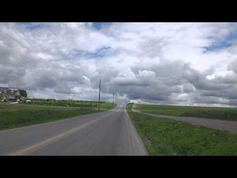 Driving Through Amish Country Farmland in Pennsylvania
