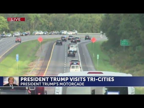 President Trump's motorcade enters Johnson City