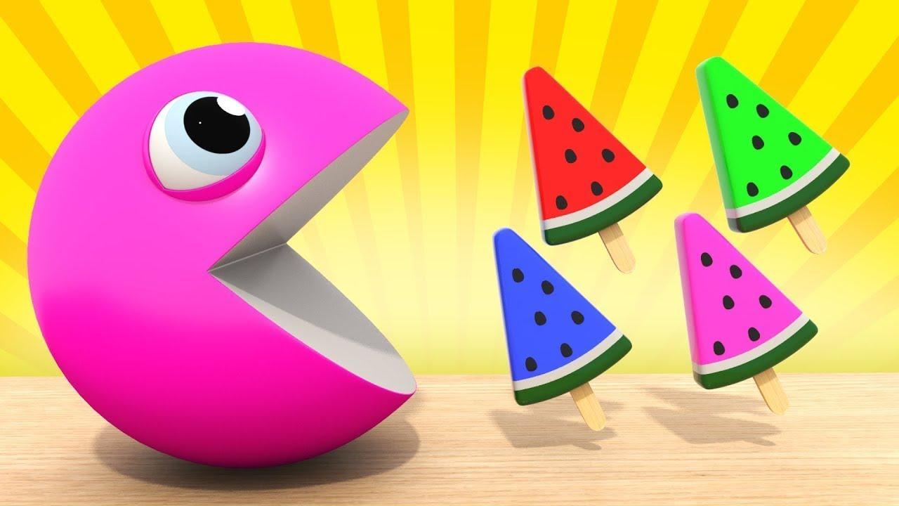Изучаем Цвета  Пакман   Мороженое для детей  Развивающие мультики для малышей