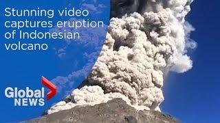 Stunning video captures eruption of Indonesian volcano