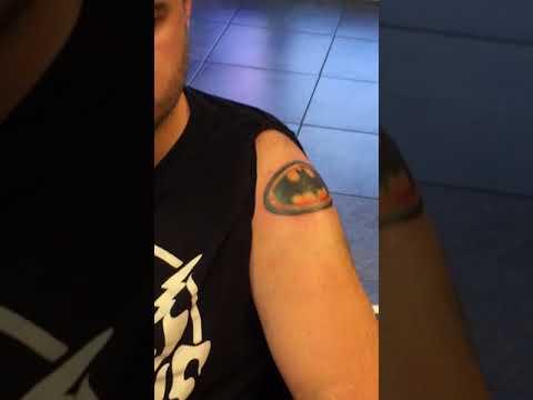 8c4bce590 Batman tattoo touch up 1 - YouTube