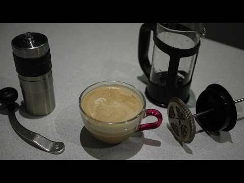 Life Hack - Make surprisingly good latte with just a hand coffee grinder and a french press