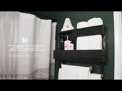 DIY Pallet Towel Rack + Small Bathroom Storage