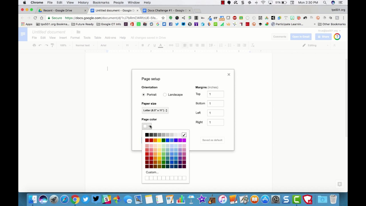 How to color in google docs - Google Docs Change Background Color Of A Doc