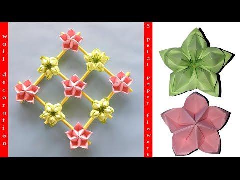 Origami bunga 5 kelopak untuk hiasan dinding / origami 5 petal flower for wall decoration