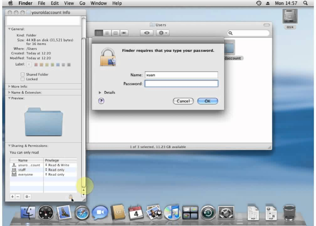 How to change / add file or folder permissions on mac osX