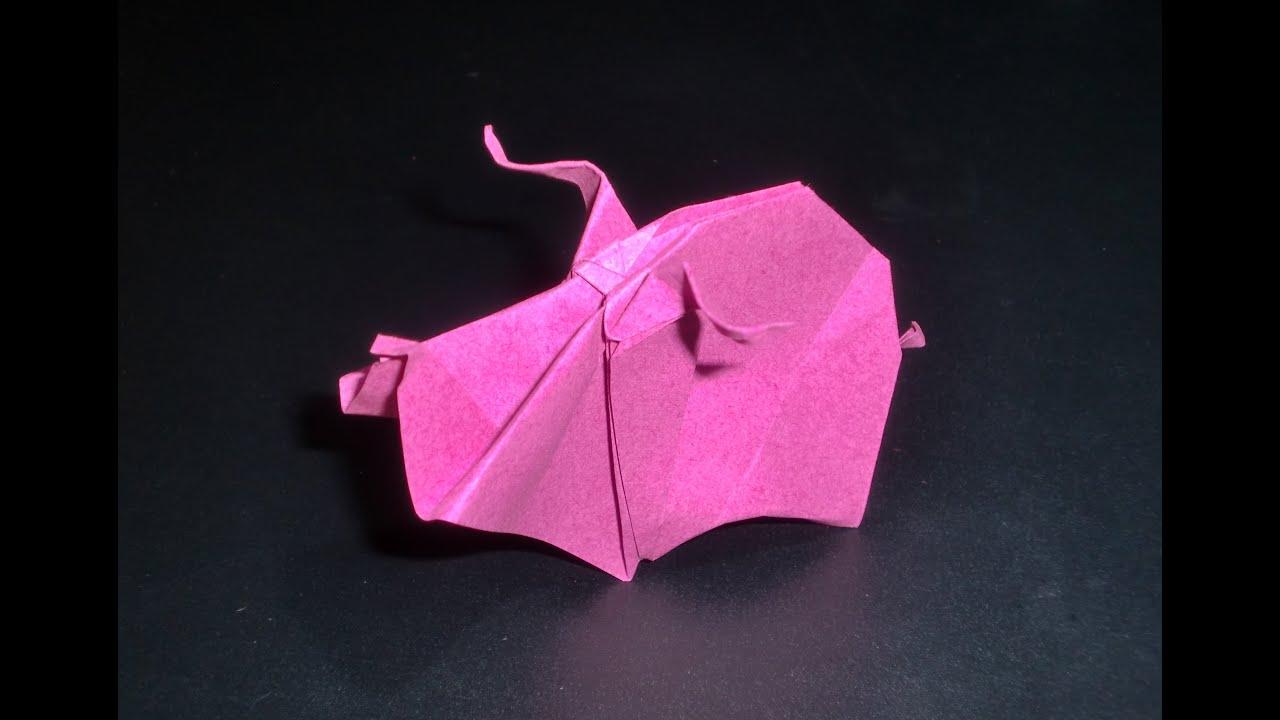 origami schwein papiertiere vom bauernhof faltanleitung hd deutsch youtube. Black Bedroom Furniture Sets. Home Design Ideas