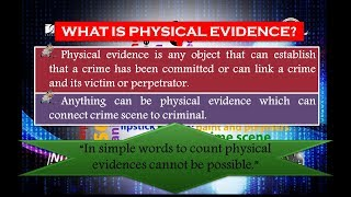 Physical Evidences (Definition, Types & Nature)(easy notes)