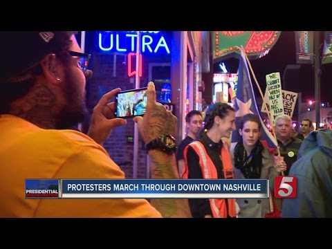 Inauguration Protesters March Through Downtown Nashville