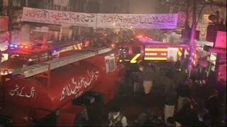 13 muertos en el incendio de un bazar en Lahore
