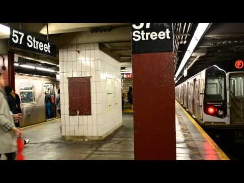 Uptown and Downtown R160 F Local Trains at 57th Street 6th Avenue IND