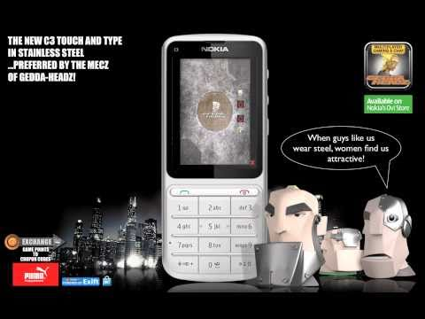 Nokia C3 Touch and Type showing Gedda-Headz.mov